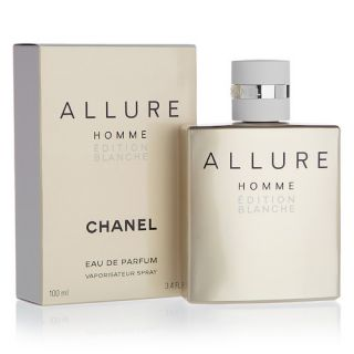 """Modern and magnetic – the Chanel Allure Homme Edition Blanche Eau de Parfum is the ultimate fragrance for the modern gentleman.  Chanel's Allure Homme Edition Blanche is considered a """"diamond fragrance"""" - meaning that it is a fragrance with many facets, a"""